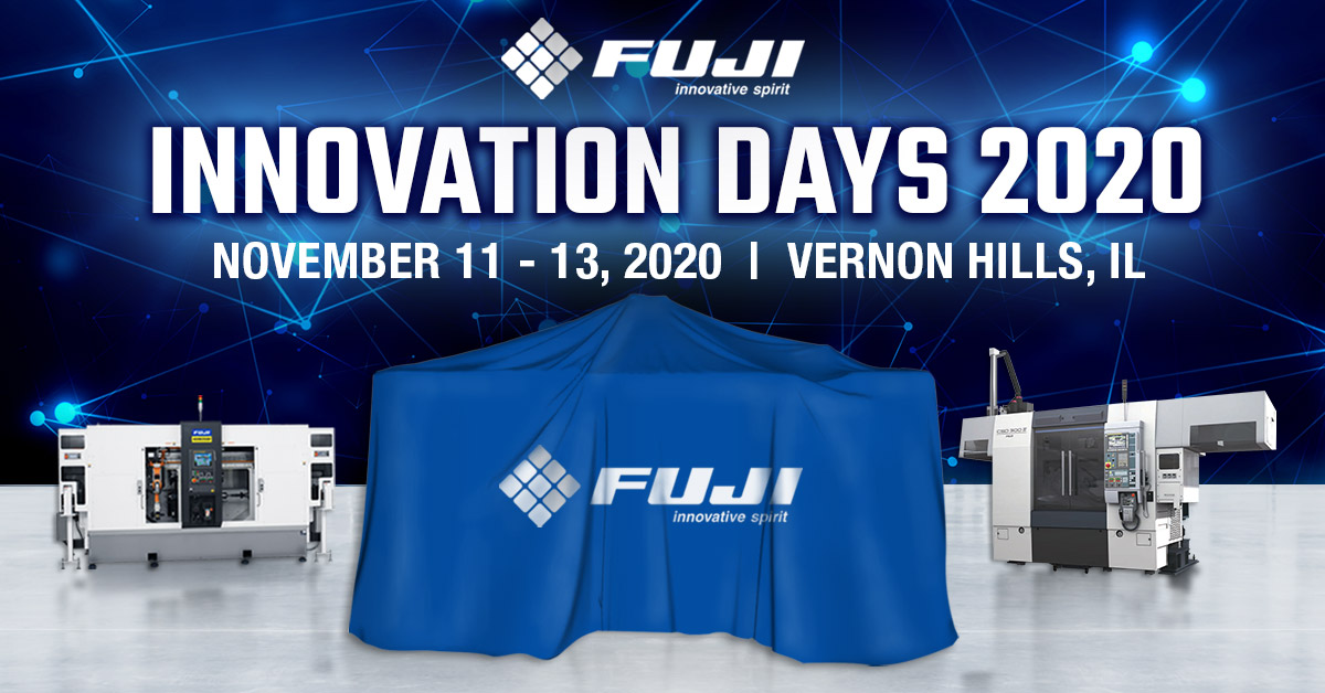 Fuji Innovation Days 2020 banner with three machines, one covered in a drape