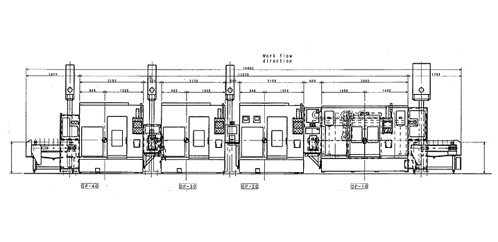 Line drawing of Fuji machining cell and internal components of machine